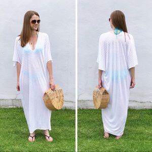 RILLER & FOUNT Luca Caftan Maxi Dress white Stripe
